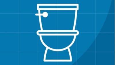 Toilet on Blue Background